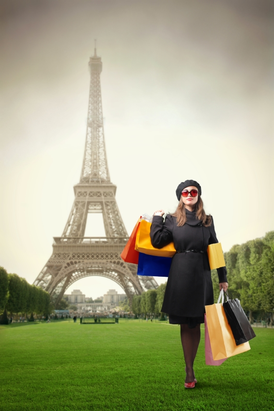 Eifel Tower Lady Shopping Bags