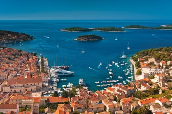 Harbor of old Adriatic island town Hvar. High angle view. Popular touristic destination of Croatia.